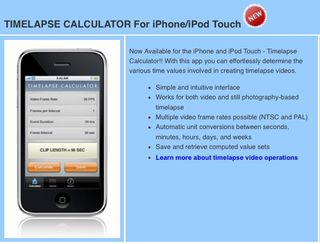 iPhone App Helps Videograpers with Time Lapse Calculations
